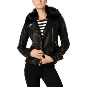 Guess faux leather lace-up cuff Moto Jacket sz S